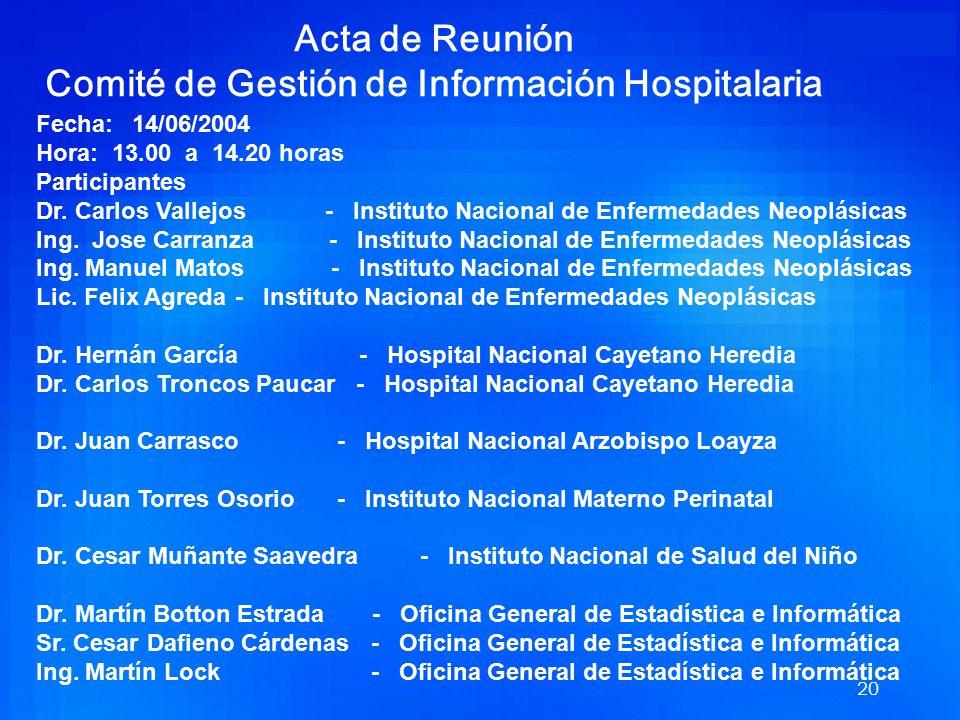 Acta de Reunión Comité de Gestión de Información Hospitalaria