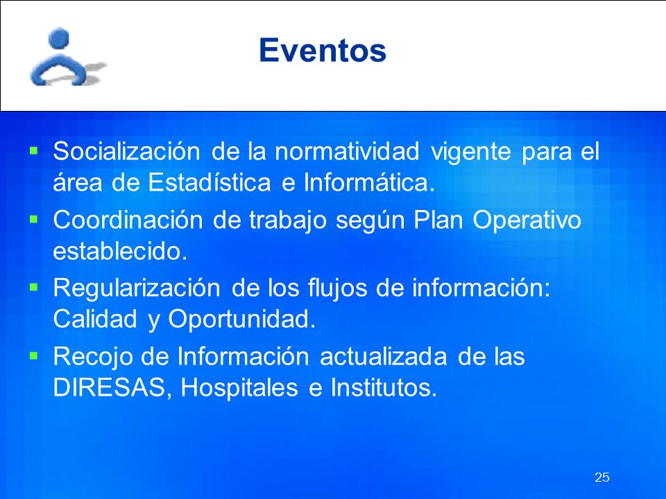 Eventos Socialización de la normatividad vigente para el área de Estadística e Informática.