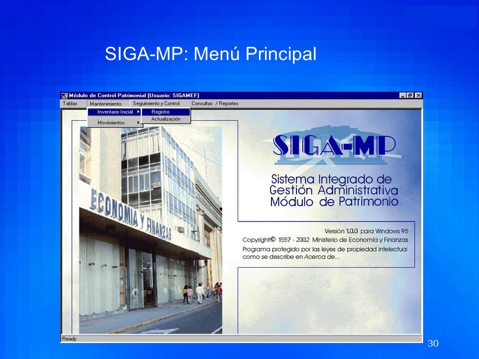 SIGA-MP: Menú Principal