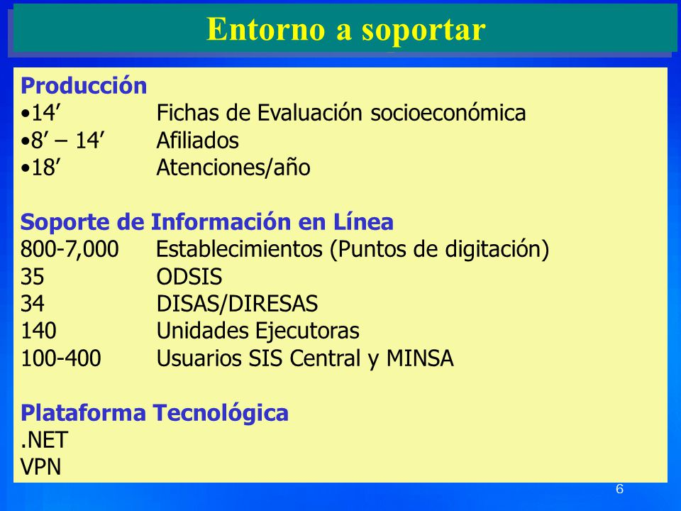 Entorno a soportar Producción 14' Fichas de Evaluación socioeconómica