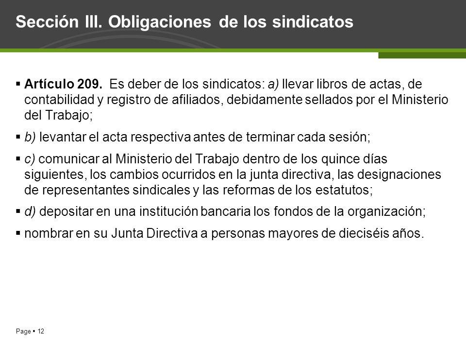 Sección III. Obligaciones de los sindicatos