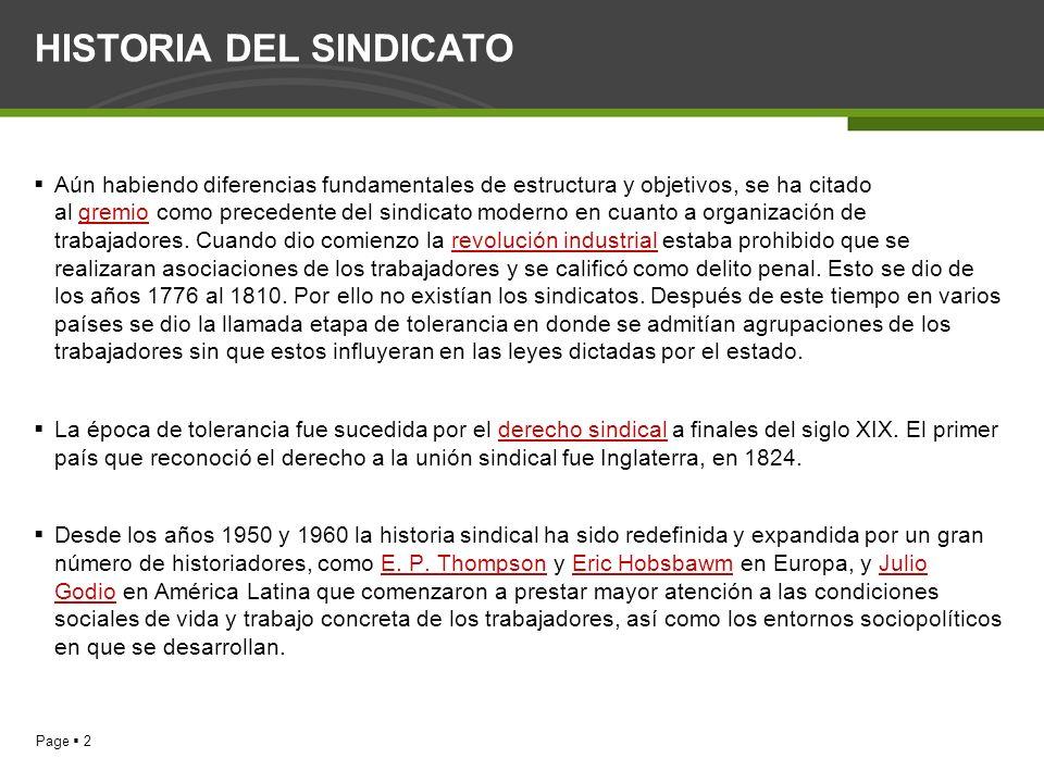 HISTORIA DEL SINDICATO
