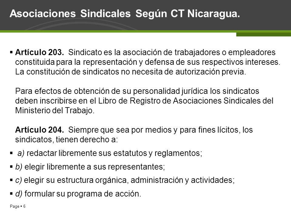 Asociaciones Sindicales Según CT Nicaragua.