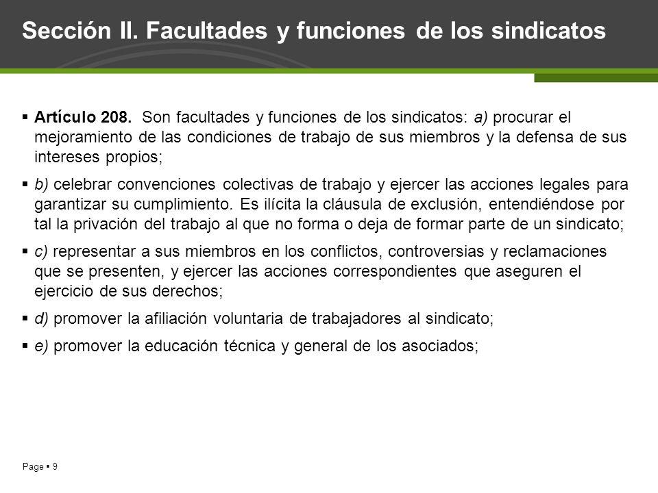 Sección II. Facultades y funciones de los sindicatos