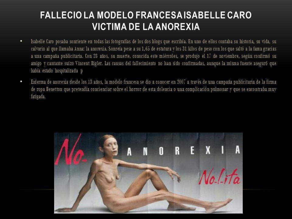 FALLECIO LA MODELO FRANCESA ISABELLE CARO VICTIMA DE LA ANOREXIA