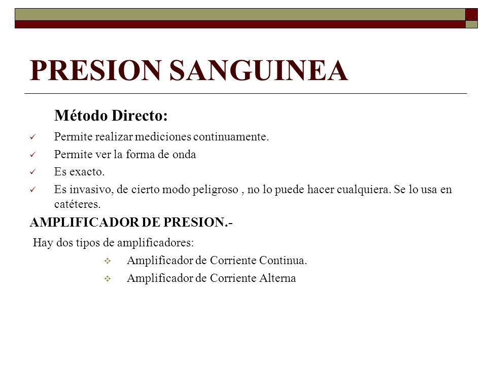 PRESION SANGUINEA Método Directo: AMPLIFICADOR DE PRESION.-