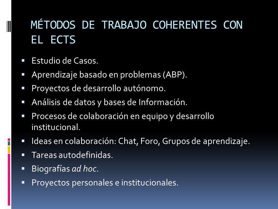 MÉTODOS DE TRABAJO COHERENTES CON EL ECTS