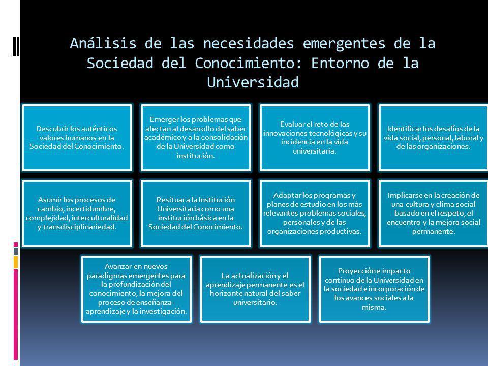 Análisis de las necesidades emergentes de la Sociedad del Conocimiento: Entorno de la Universidad