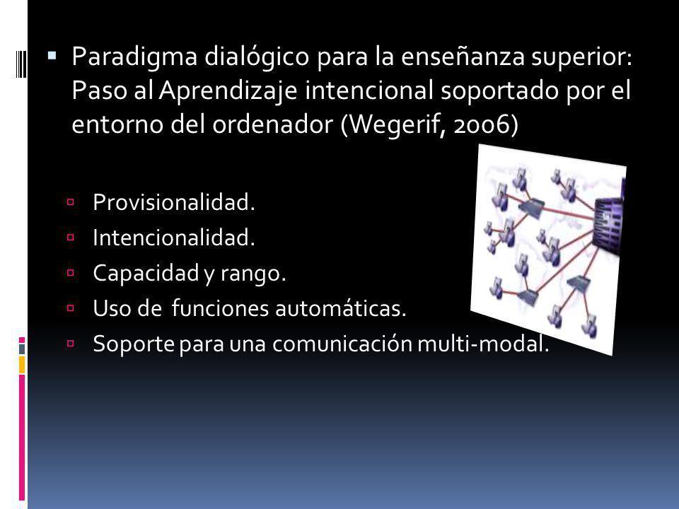 Paradigma dialógico para la enseñanza superior: Paso al Aprendizaje intencional soportado por el entorno del ordenador (Wegerif, 2006)