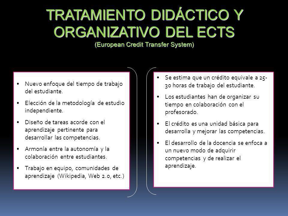 TRATAMIENTO DIDÁCTICO Y ORGANIZATIVO DEL ECTS (European Credit Transfer System)