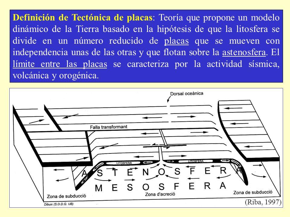 Definición de Tectónica de placas: Teoría que propone un modelo dinámico de la Tierra basado en la hipótesis de que la litosfera se divide en un número reducido de placas que se mueven con independencia unas de las otras y que flotan sobre la astenosfera. El límite entre las placas se caracteriza por la actividad sísmica, volcánica y orogénica.