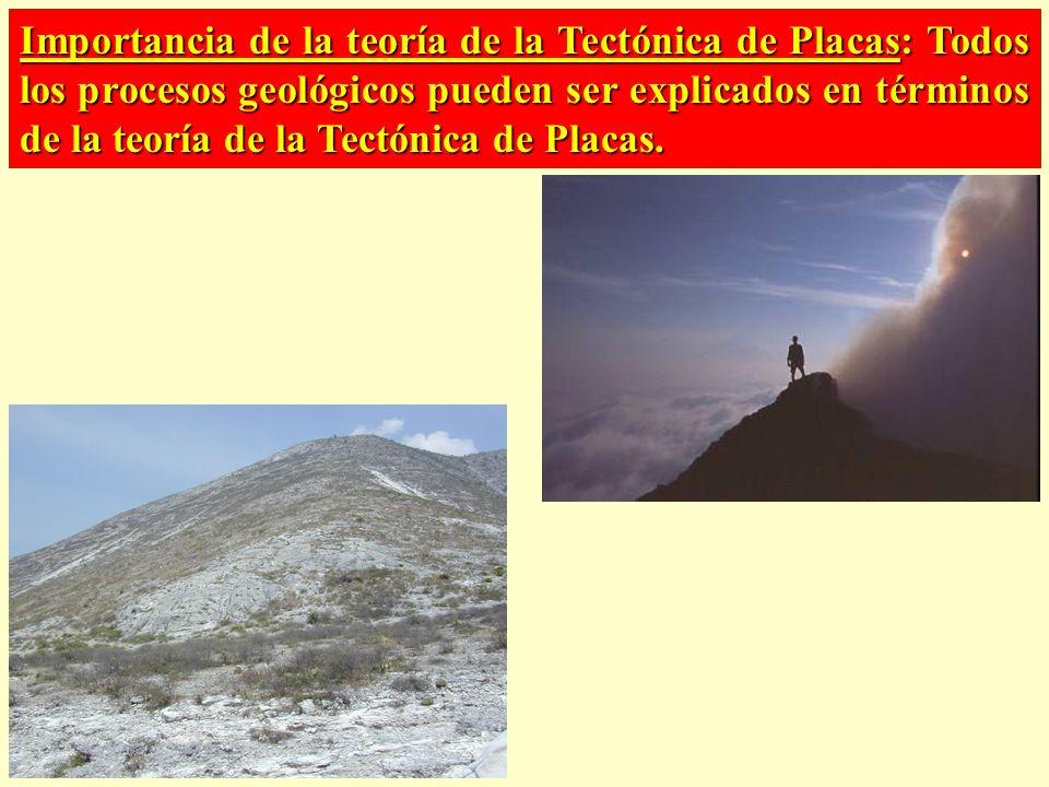 Importancia de la teoría de la Tectónica de Placas: Todos los procesos geológicos pueden ser explicados en términos de la teoría de la Tectónica de Placas.
