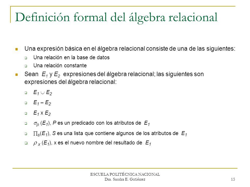 Definición formal del álgebra relacional