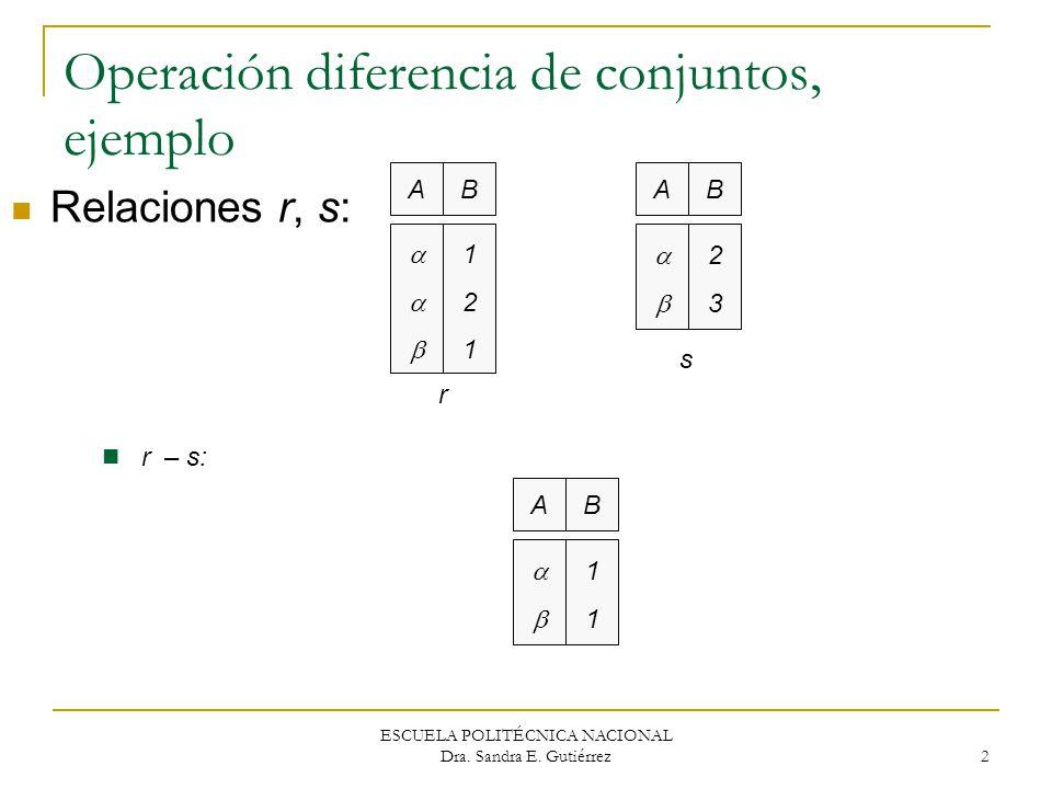 Operación diferencia de conjuntos, ejemplo