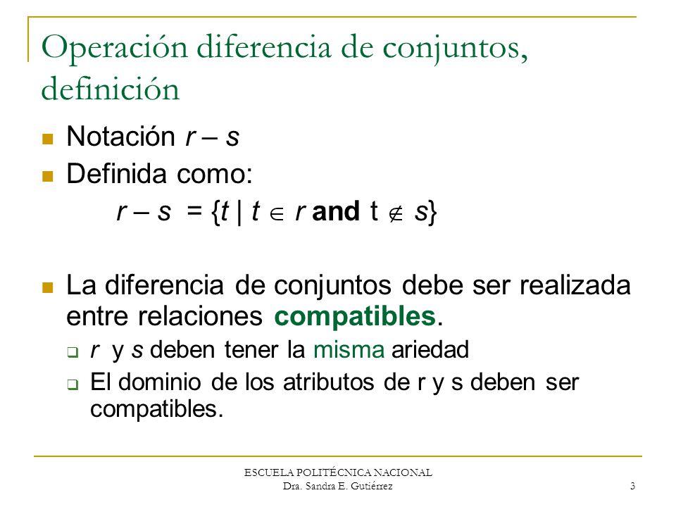 Operación diferencia de conjuntos, definición