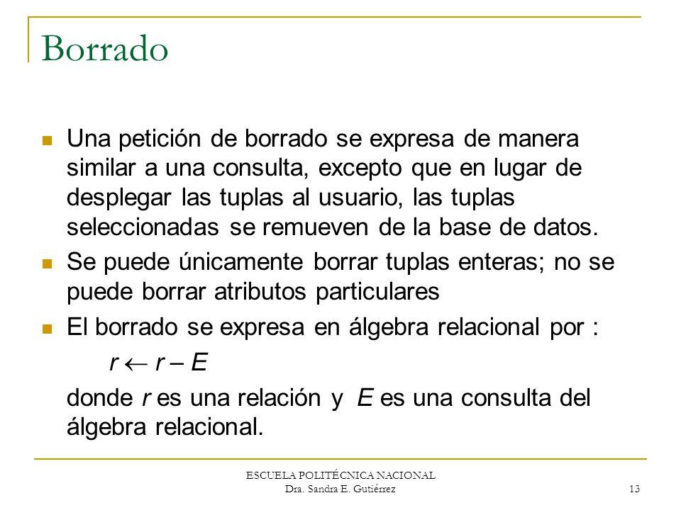 ESCUELA POLITÉCNICA NACIONAL Dra. Sandra E. Gutiérrez