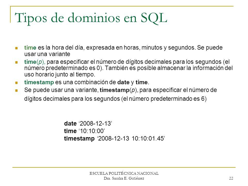 Tipos de dominios en SQL