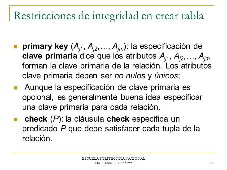 Restricciones de integridad en crear tabla