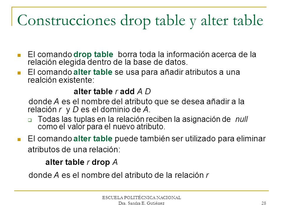 Construcciones drop table y alter table