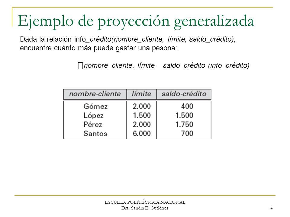 Ejemplo de proyección generalizada