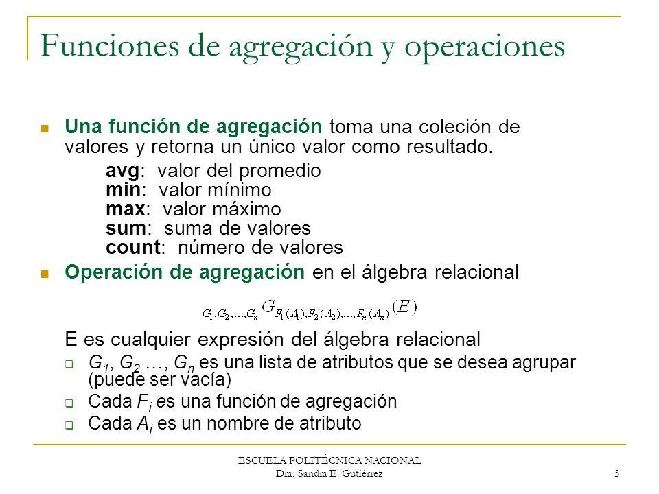 Funciones de agregación y operaciones