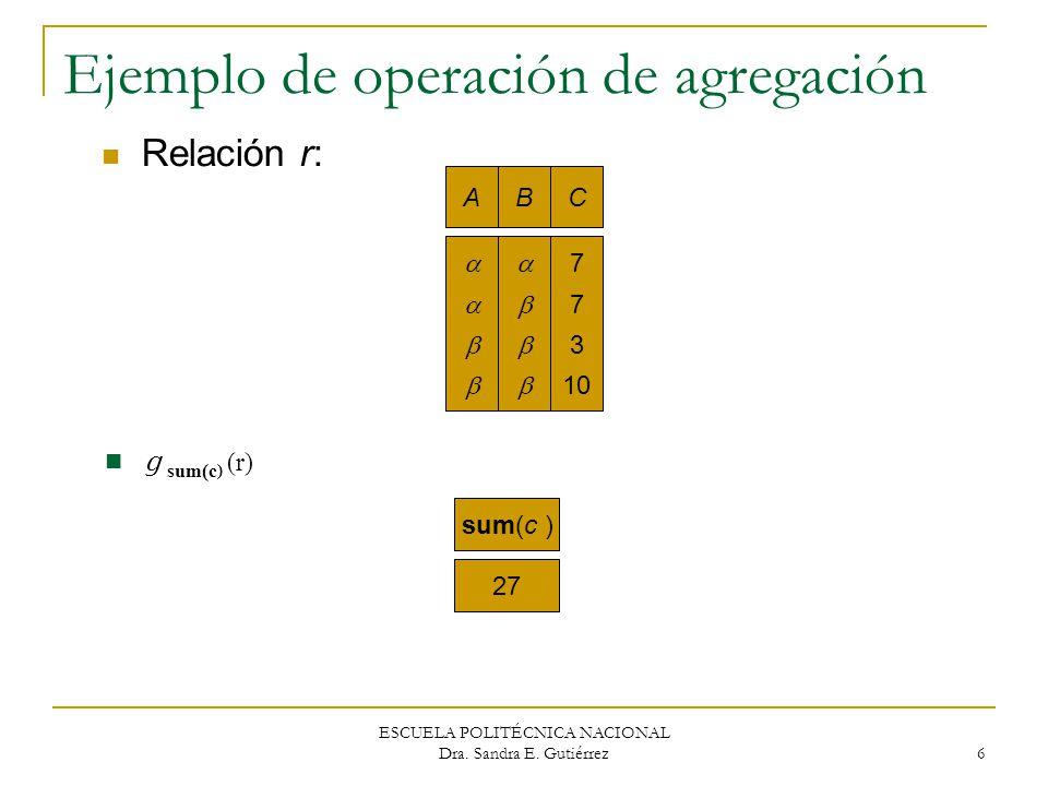 Ejemplo de operación de agregación