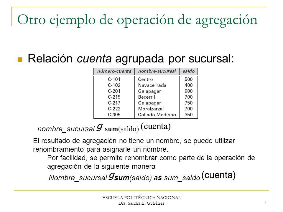 Otro ejemplo de operación de agregación