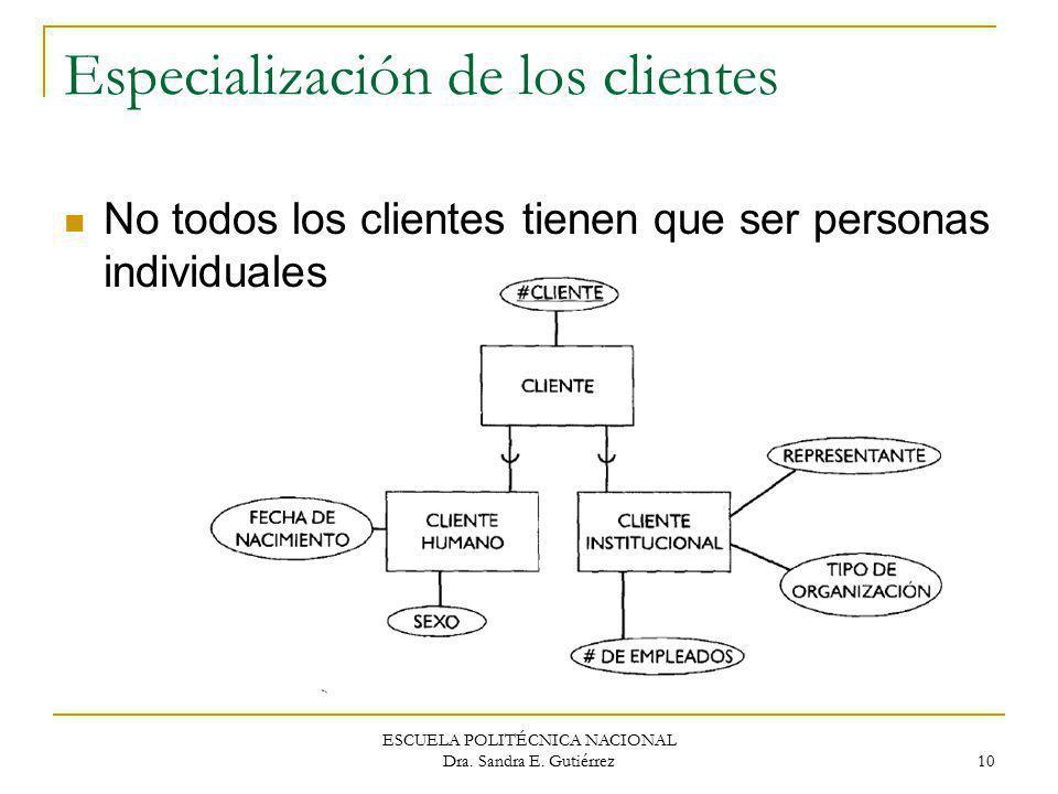 Especialización de los clientes