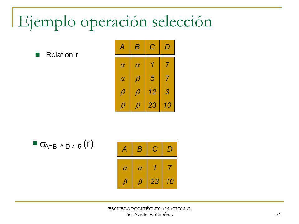 Ejemplo operación selección