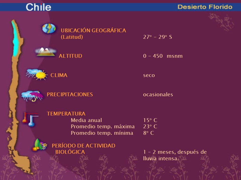 UBICACIÓN GEOGRÁFICA. (Latitud) 27° - 29° S. ALTITUD 0 - 450 msnm. CLIMA seco. PRECIPITACIONES ocasionales.