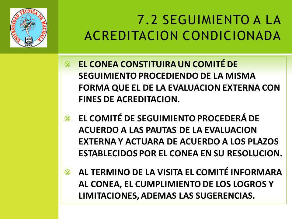 7.2 SEGUIMIENTO A LA ACREDITACION CONDICIONADA