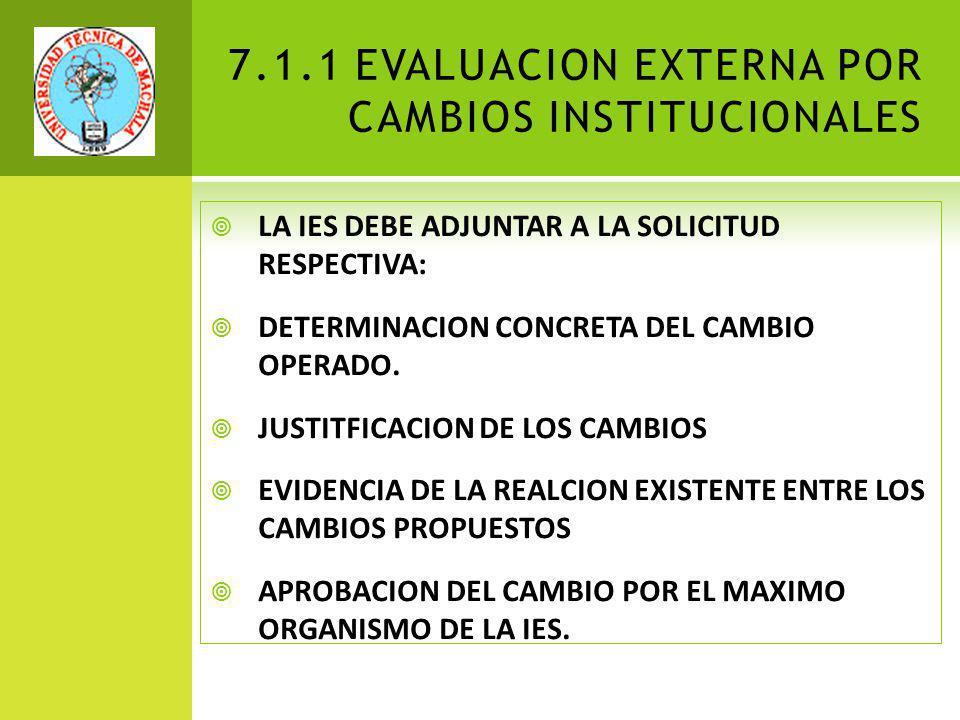 7.1.1 EVALUACION EXTERNA POR CAMBIOS INSTITUCIONALES