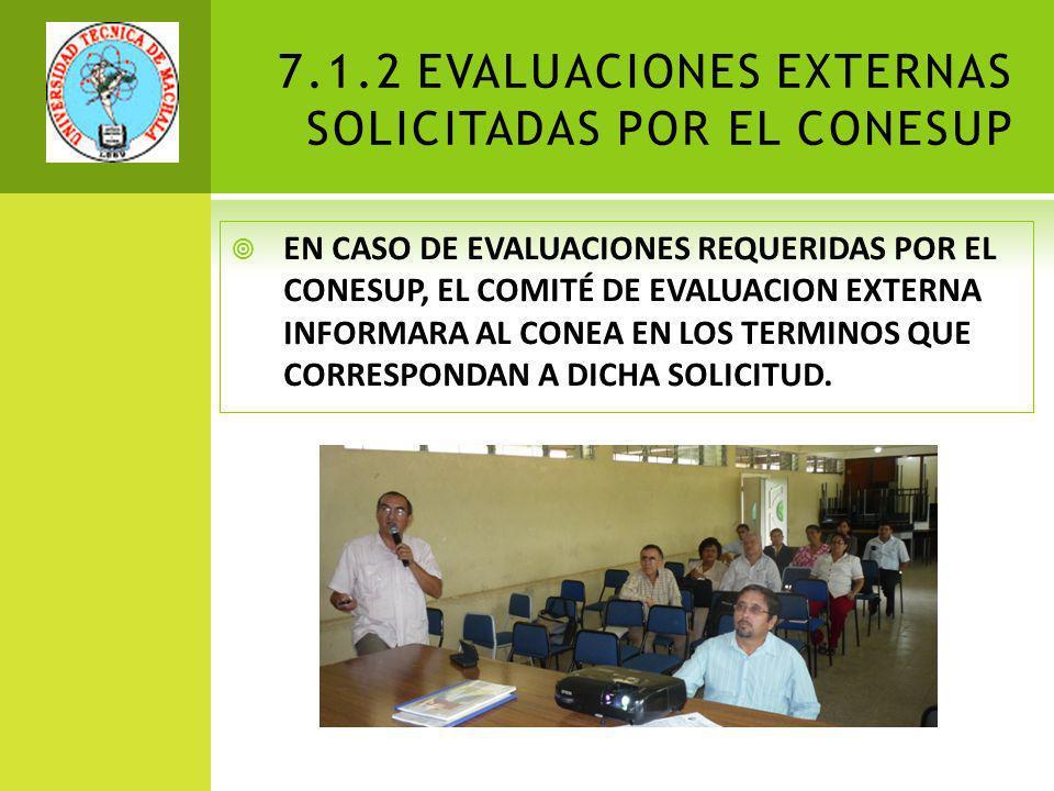 7.1.2 EVALUACIONES EXTERNAS SOLICITADAS POR EL CONESUP
