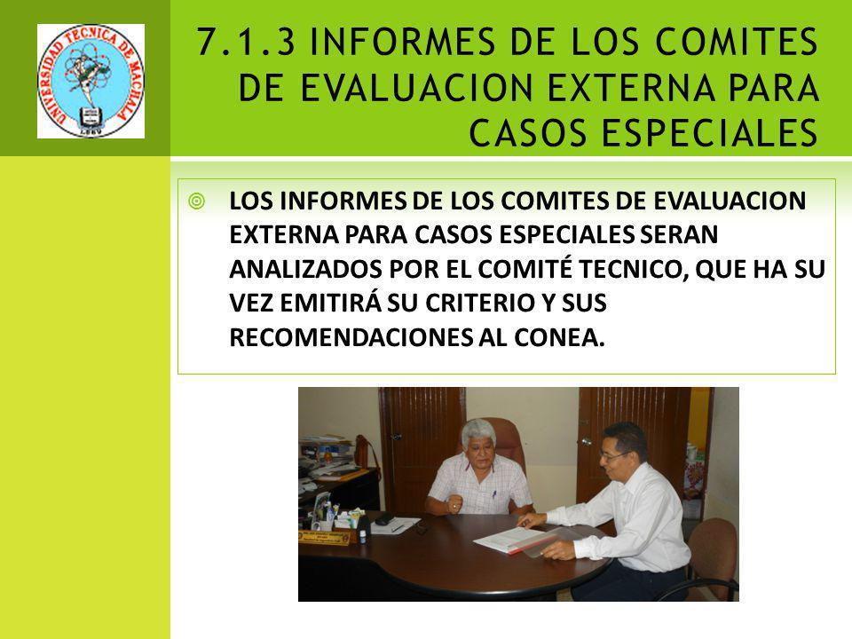 7.1.3 INFORMES DE LOS COMITES DE EVALUACION EXTERNA PARA CASOS ESPECIALES