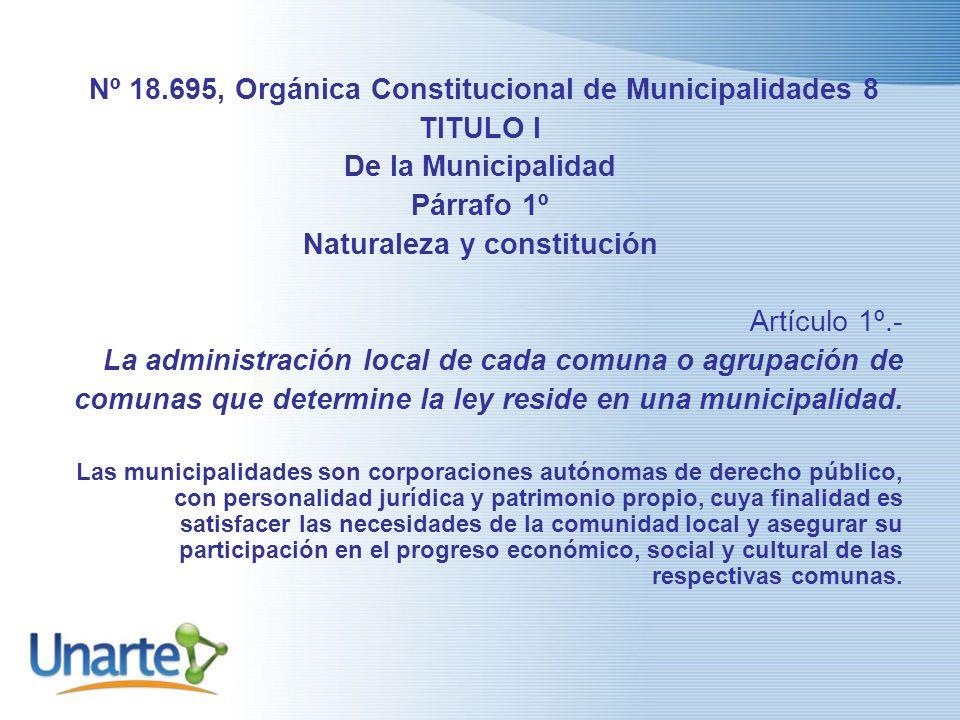 Nº 18.695, Orgánica Constitucional de Municipalidades 8 TITULO I