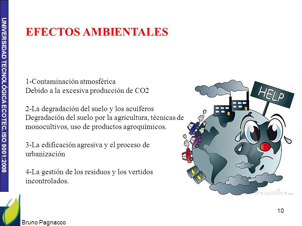 EFECTOS AMBIENTALES 1-Contaminación atmosférica Debido a la excesiva producción de CO2.