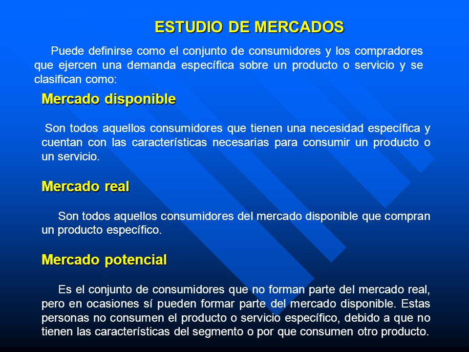 ESTUDIO DE MERCADOS Mercado disponible Mercado real Mercado potencial