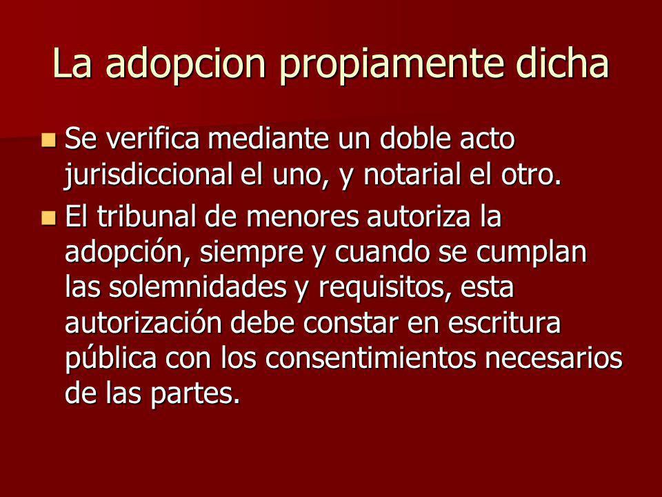 La adopcion propiamente dicha
