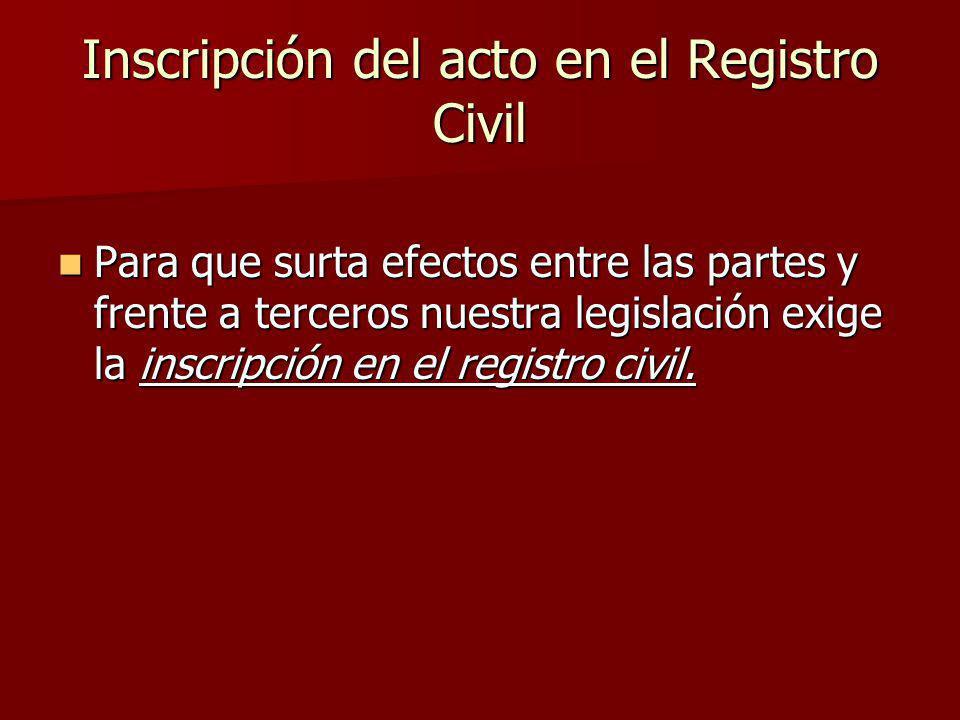 Inscripción del acto en el Registro Civil
