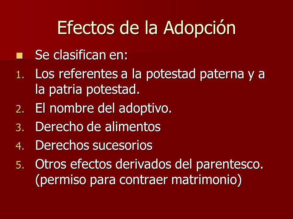 Efectos de la Adopción Se clasifican en: