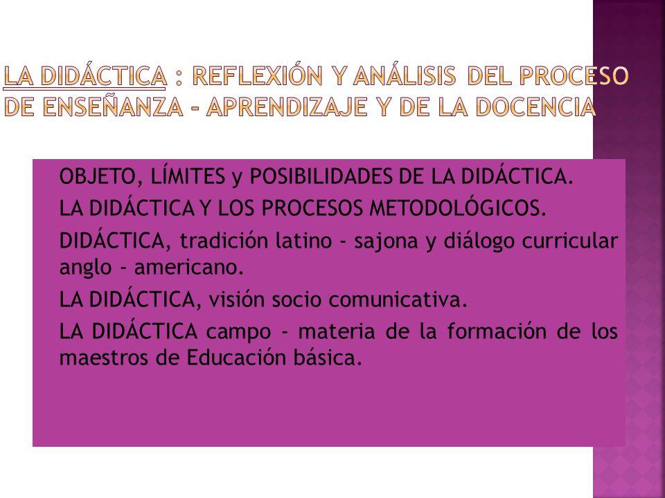 LA DIDÁCTICA : Reflexión y análisis del proceso de enseñanza - aprendizaje y de la docencia