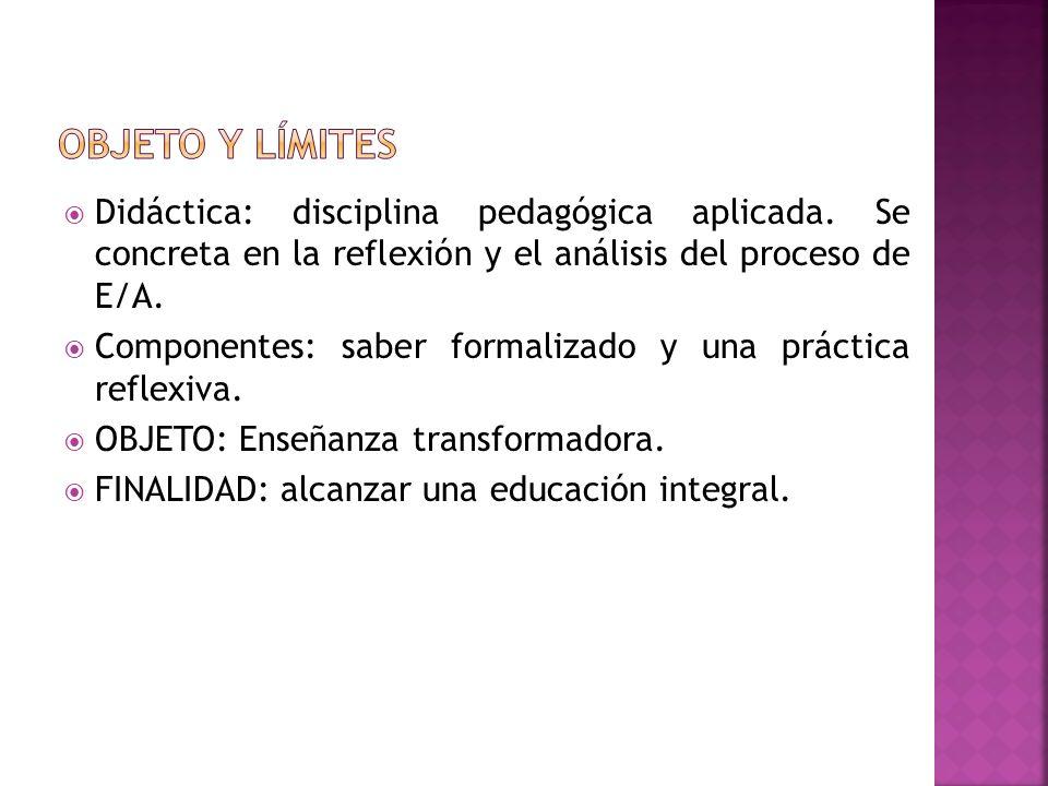 OBJETO Y LÍMITES Didáctica: disciplina pedagógica aplicada. Se concreta en la reflexión y el análisis del proceso de E/A.