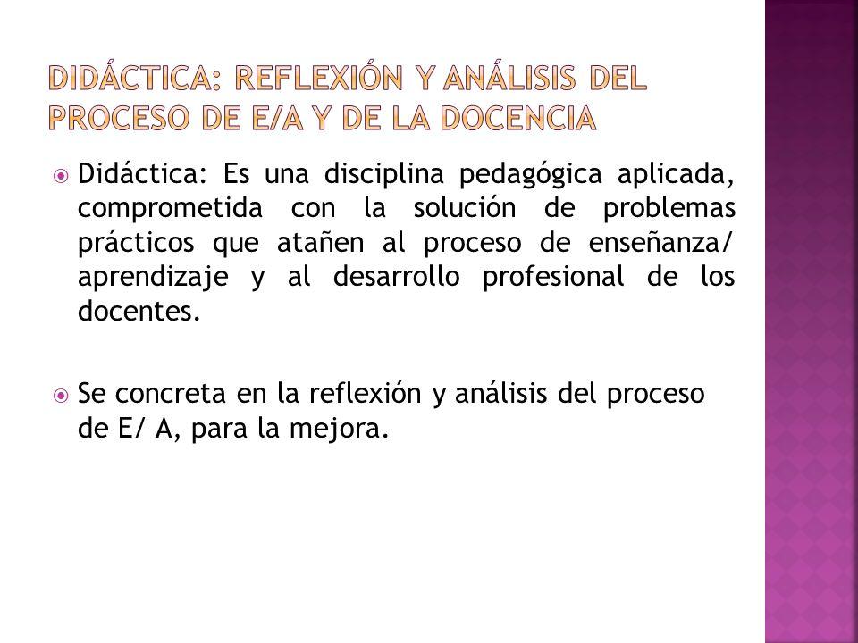 DIDÁCTICA: Reflexión y análisis del proceso de E/A y de la docencia