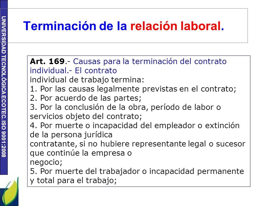 Terminación de la relación laboral.