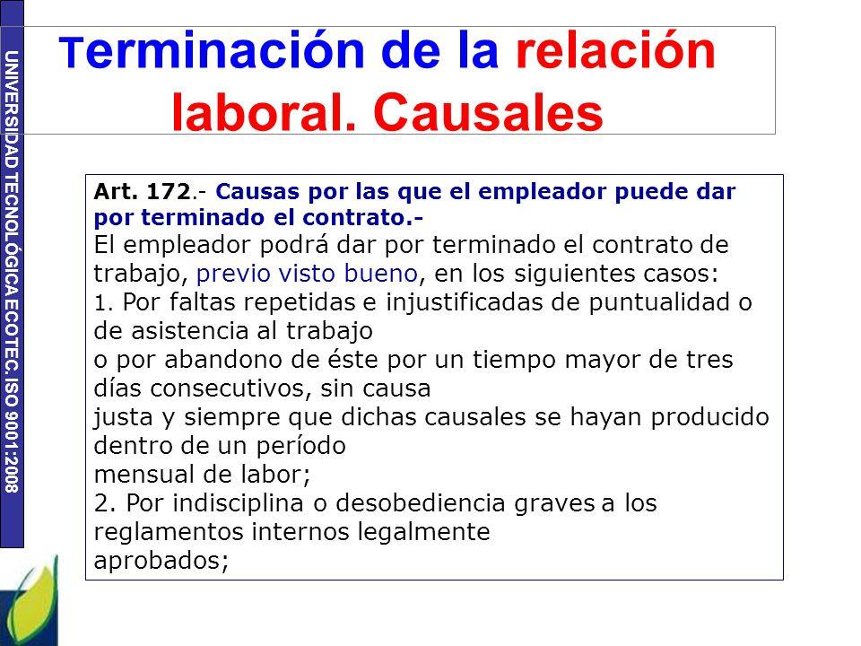 Terminación de la relación laboral. Causales