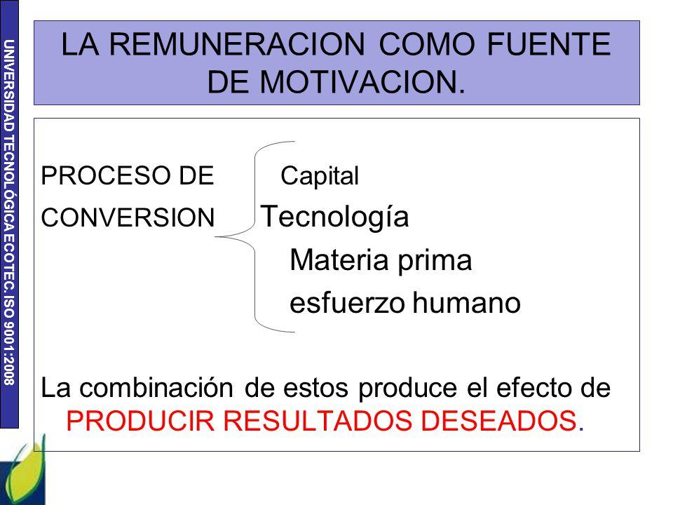LA REMUNERACION COMO FUENTE DE MOTIVACION.