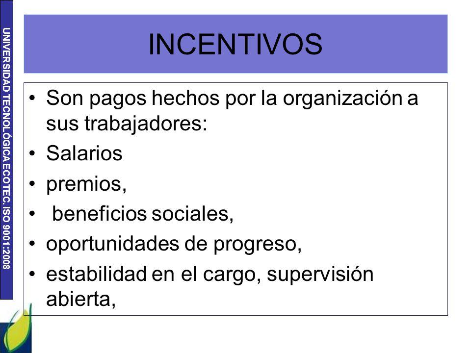 INCENTIVOS Son pagos hechos por la organización a sus trabajadores: