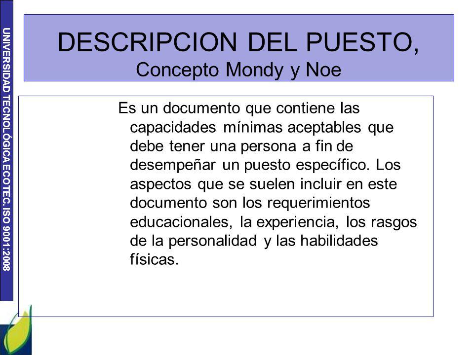 DESCRIPCION DEL PUESTO, Concepto Mondy y Noe