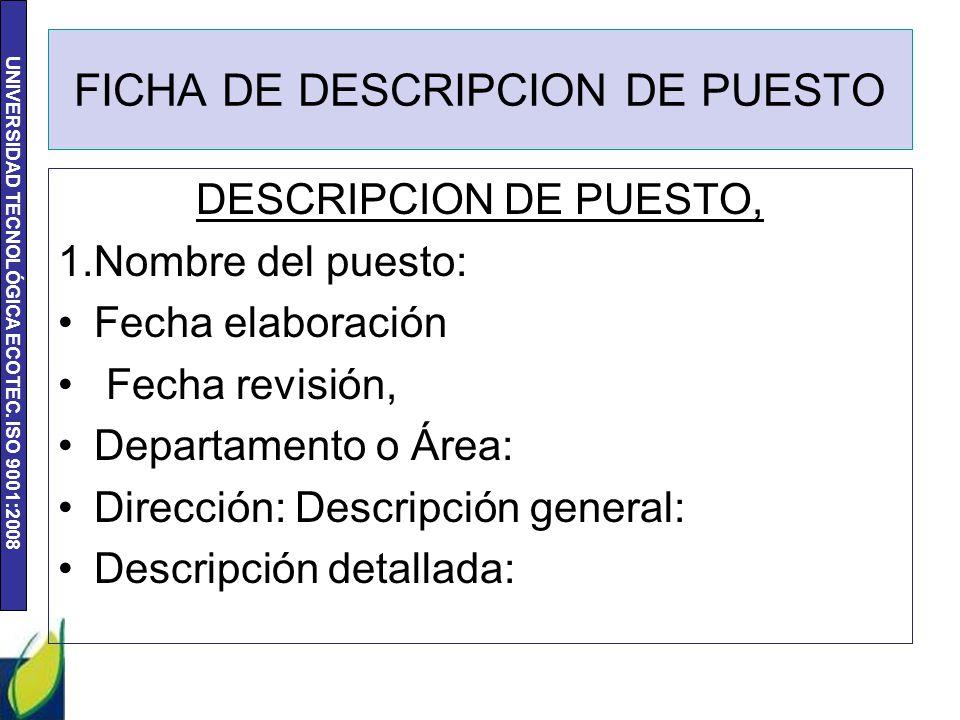 FICHA DE DESCRIPCION DE PUESTO