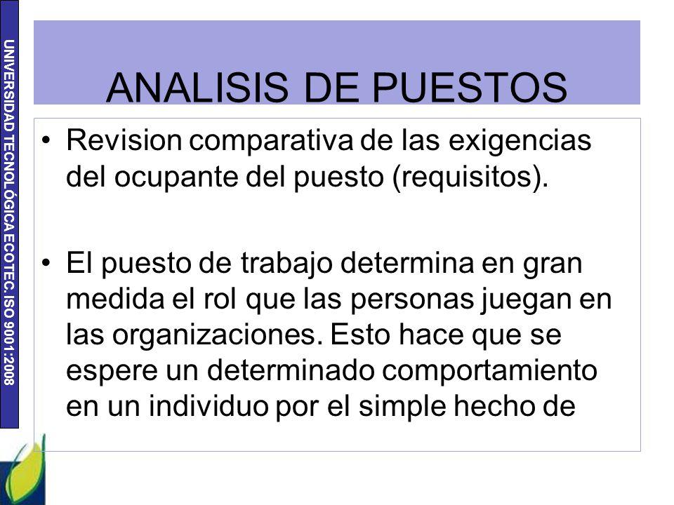 ANALISIS DE PUESTOS Revision comparativa de las exigencias del ocupante del puesto (requisitos).